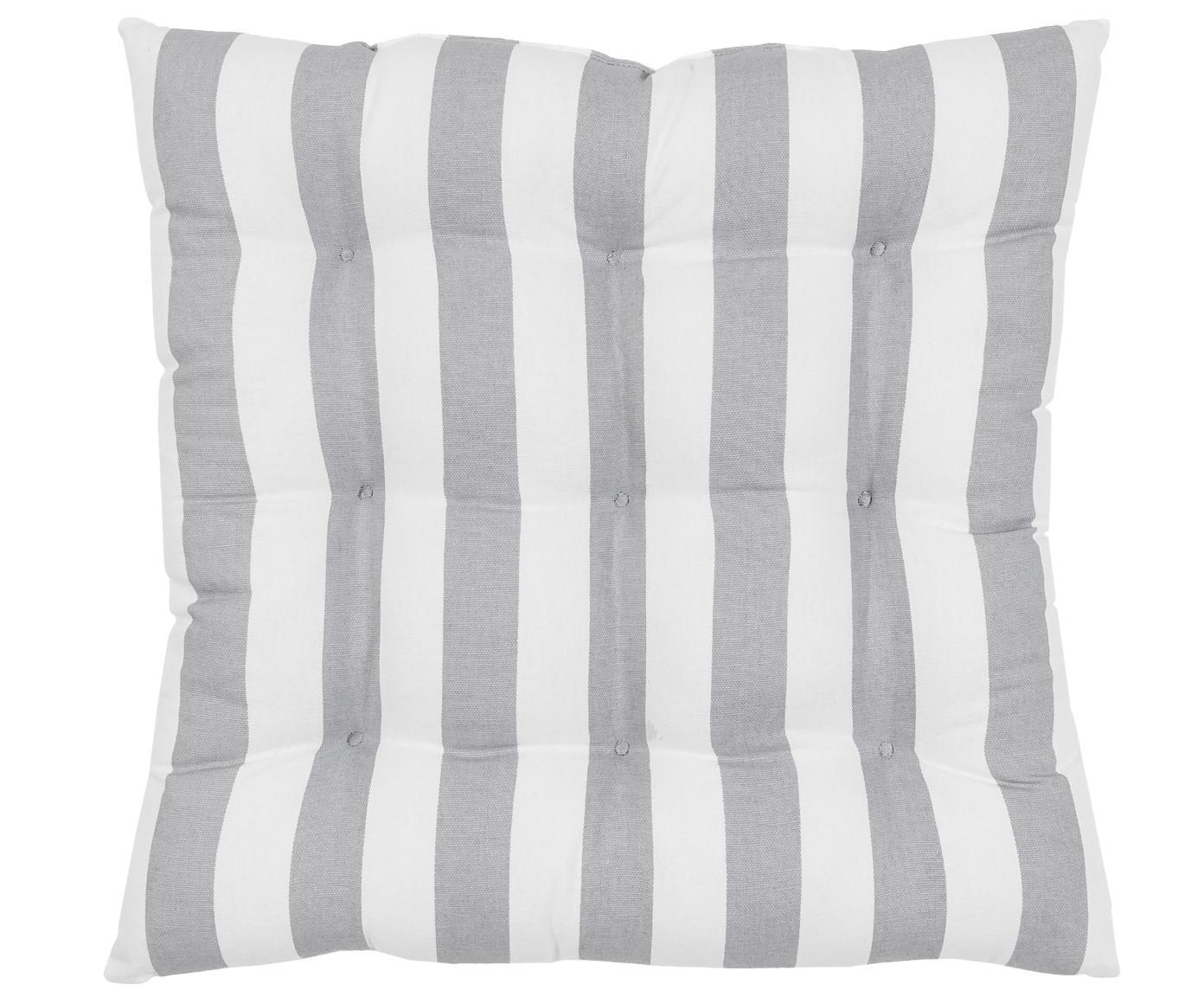 Cojín de asiento Parasol, Funda: 100%algodón, Gris claro, blanco, An 40 x L 40 cm