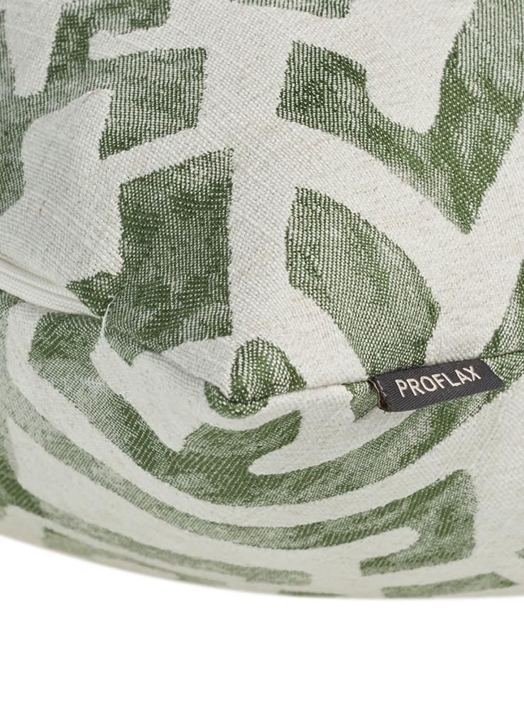 Housse de coussin imprimé ethnique aspect délavéElani, Crème, vert