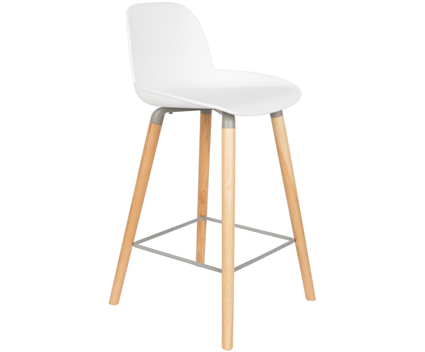 Taburete alto Albert Kuip, Asiento: polipropileno, Patas: madera de fresno, Blanco, gris, ceniza, An 45 x Al 89 cm