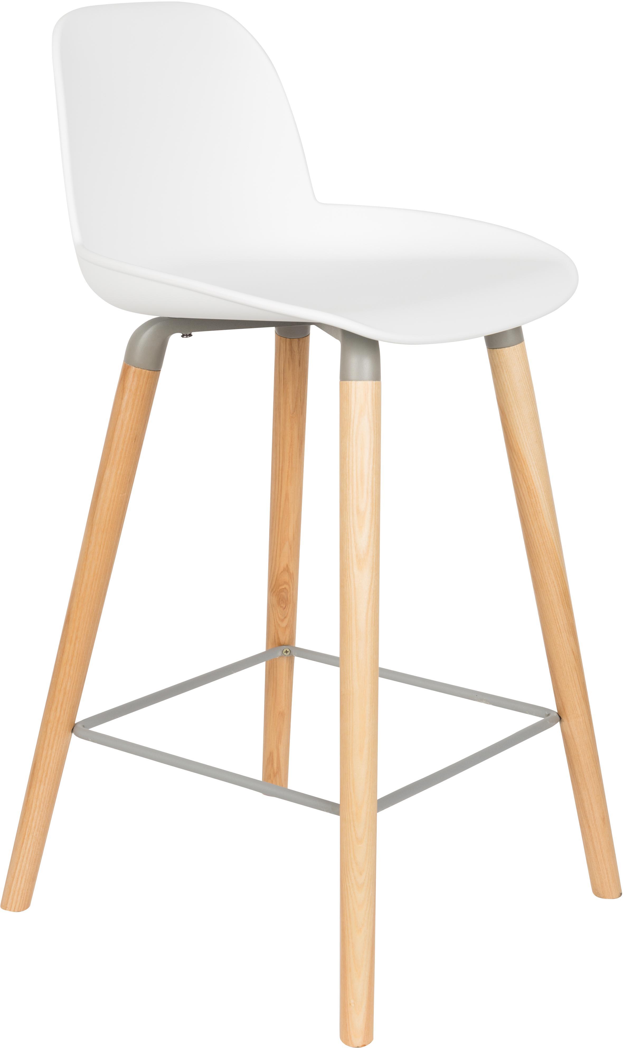 Krzesło kontuarowe Albert Kuip, Nogi: drewno dębowe, Siedzisko: biały Nogi: drewno jesionowe Rama i podnóżek: szary, S 45 x W 89 cm