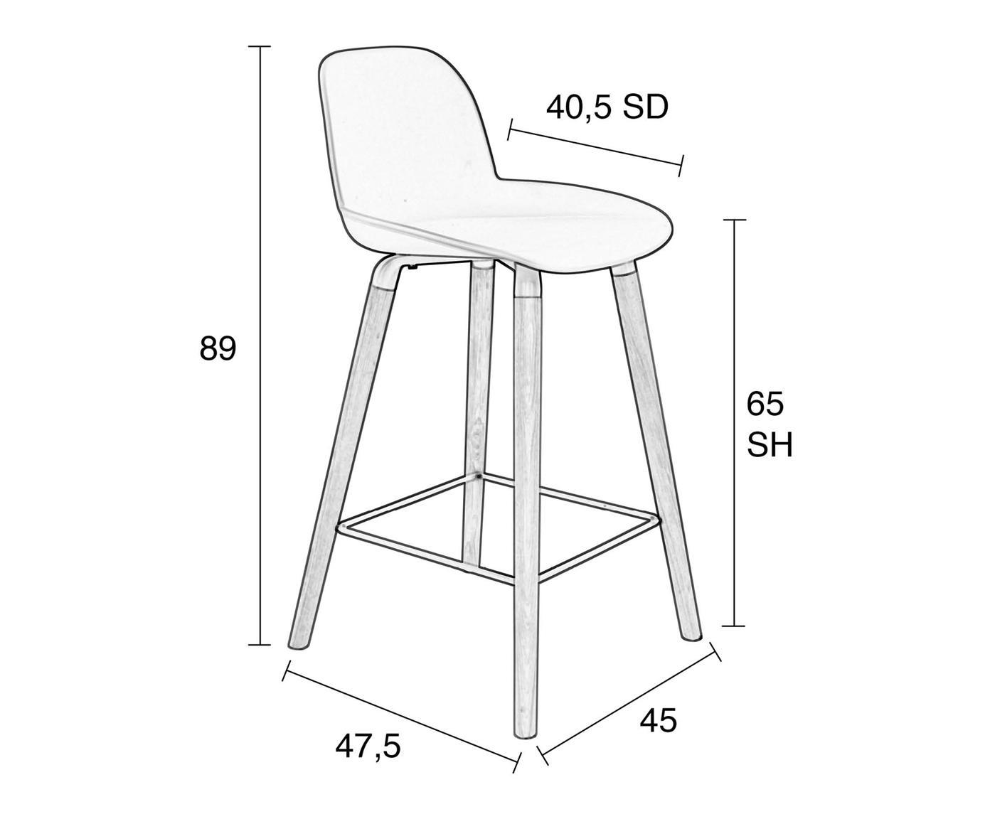 Design Thekenstuhl Albert Kuip, Beine: Eschenholz, Rahmen: Aluminium, Sitz: Weiß Beine: Eschenholz Rahmen und Fußstütze: Grau, 45 x 89 cm