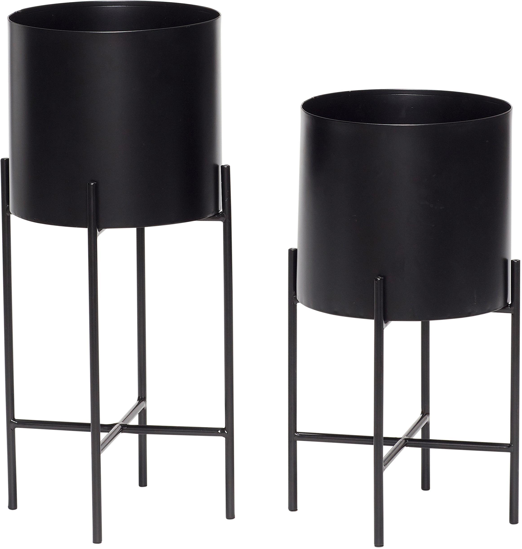 Set de maceteros de metal Mina, 2pzas., Metal, Negro, Set de diferentes tamaños