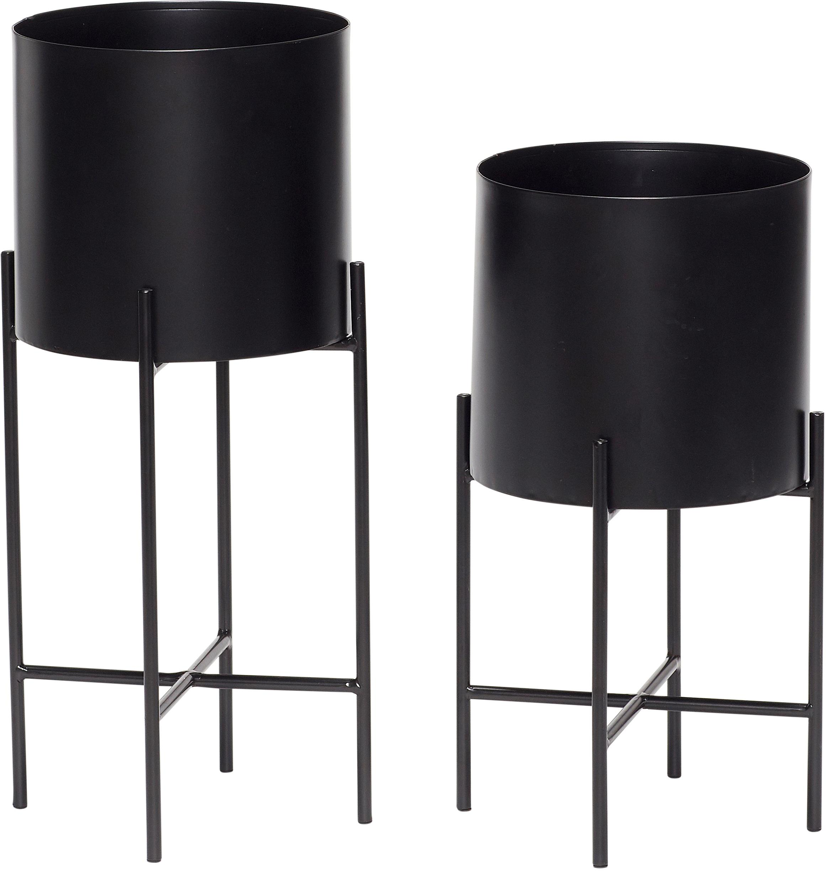 Übertöpfe-Set Mina, 2-tlg., Metall, Schwarz, matt, Sondergrößen