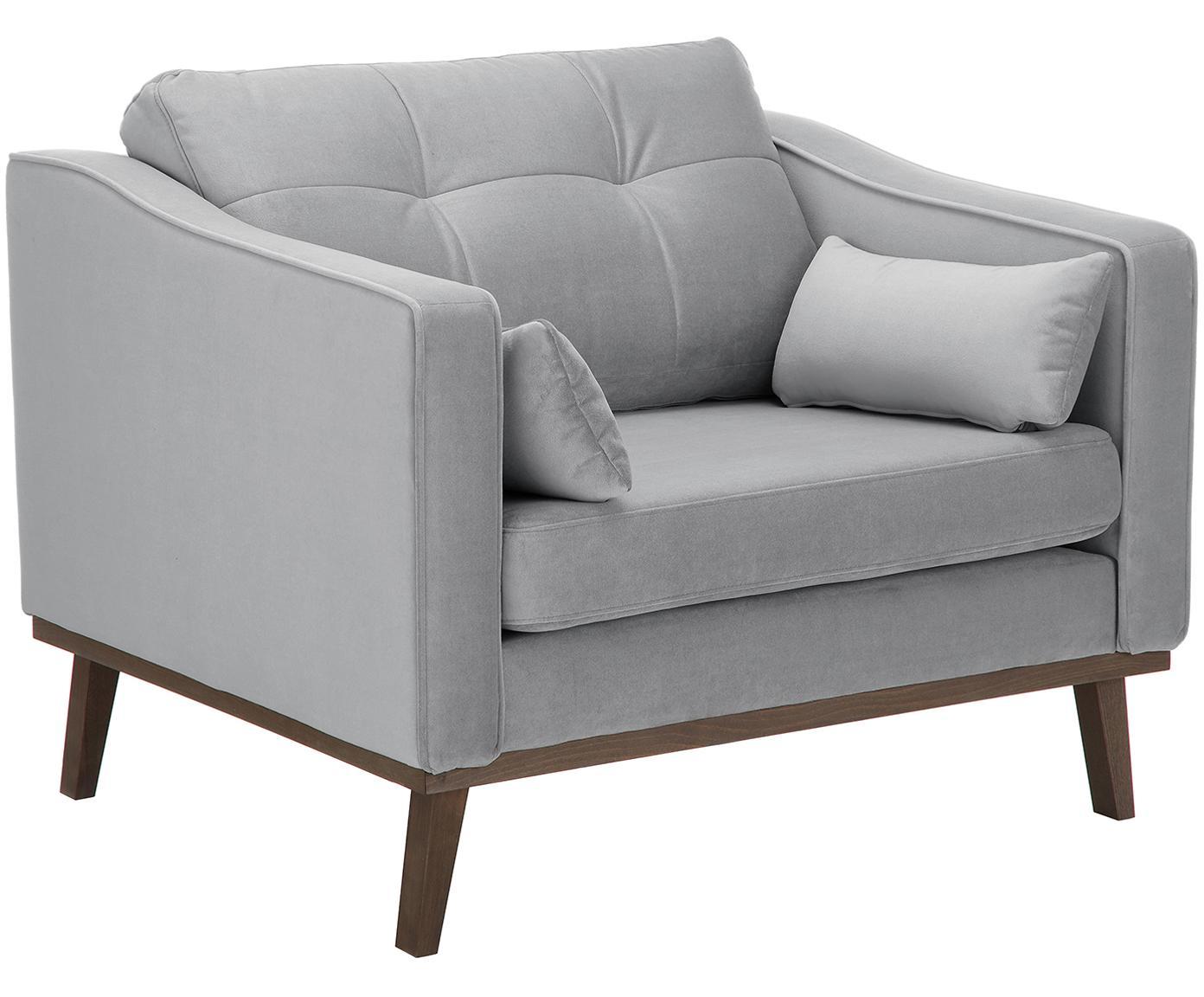 Klassieke fluwelen fauteuil Alva in grijs, Bekleding: fluweel (hoogwaardig poly, Frame: massief grenenhout, Poten: massief gebeitst beukenho, Grijs, B 102 x D 92 cm