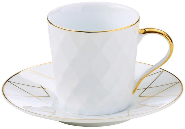 Tazas con platitos Lux, 3uds., Porcelana, Blanco, dorado, Ø 12 x Al 6 cm