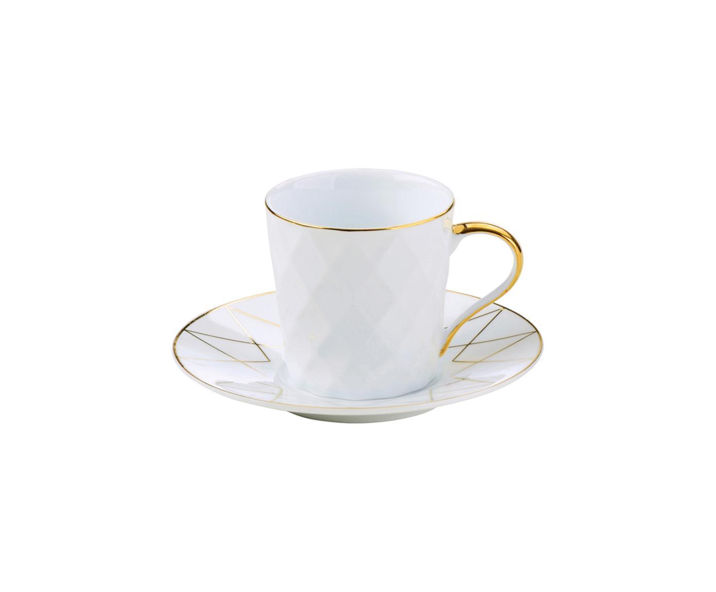 Espressotassen mit Untertassen Lux, 3 Stück, Porzellan, Weiß, Goldfarben, Ø 12 x H 6 cm