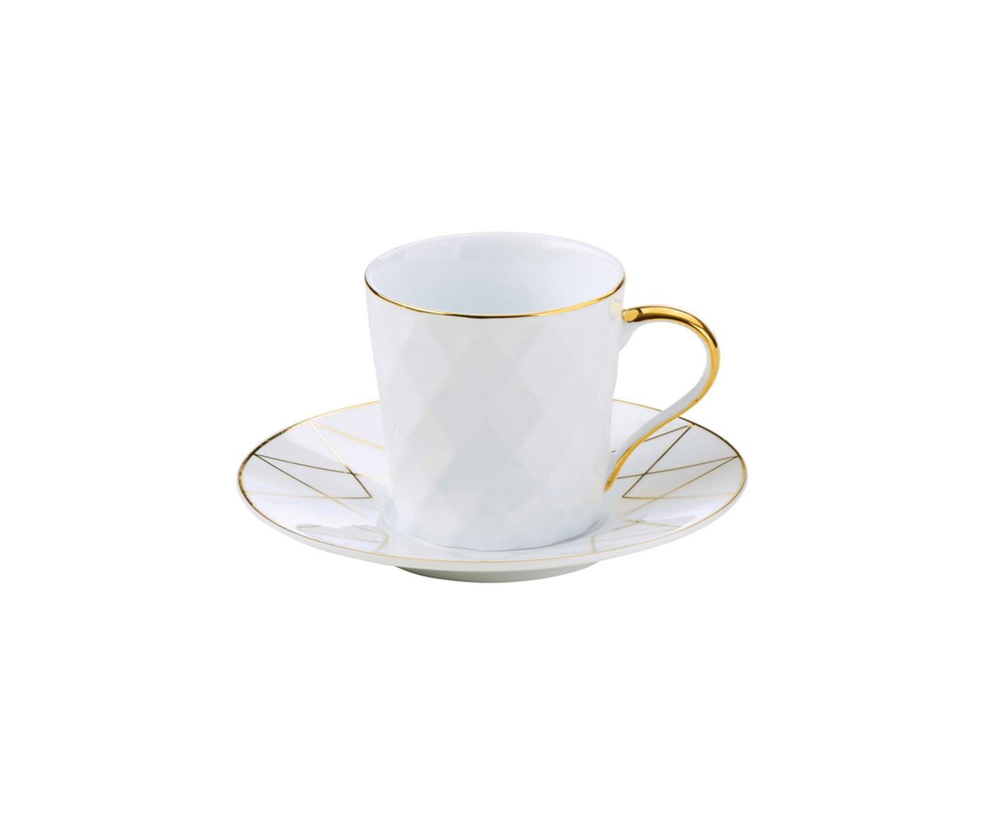 Set 6 tazzine da caffè Lux, Porcellana, Bianco, dorato, Ø 12 x Alt. 6 cm