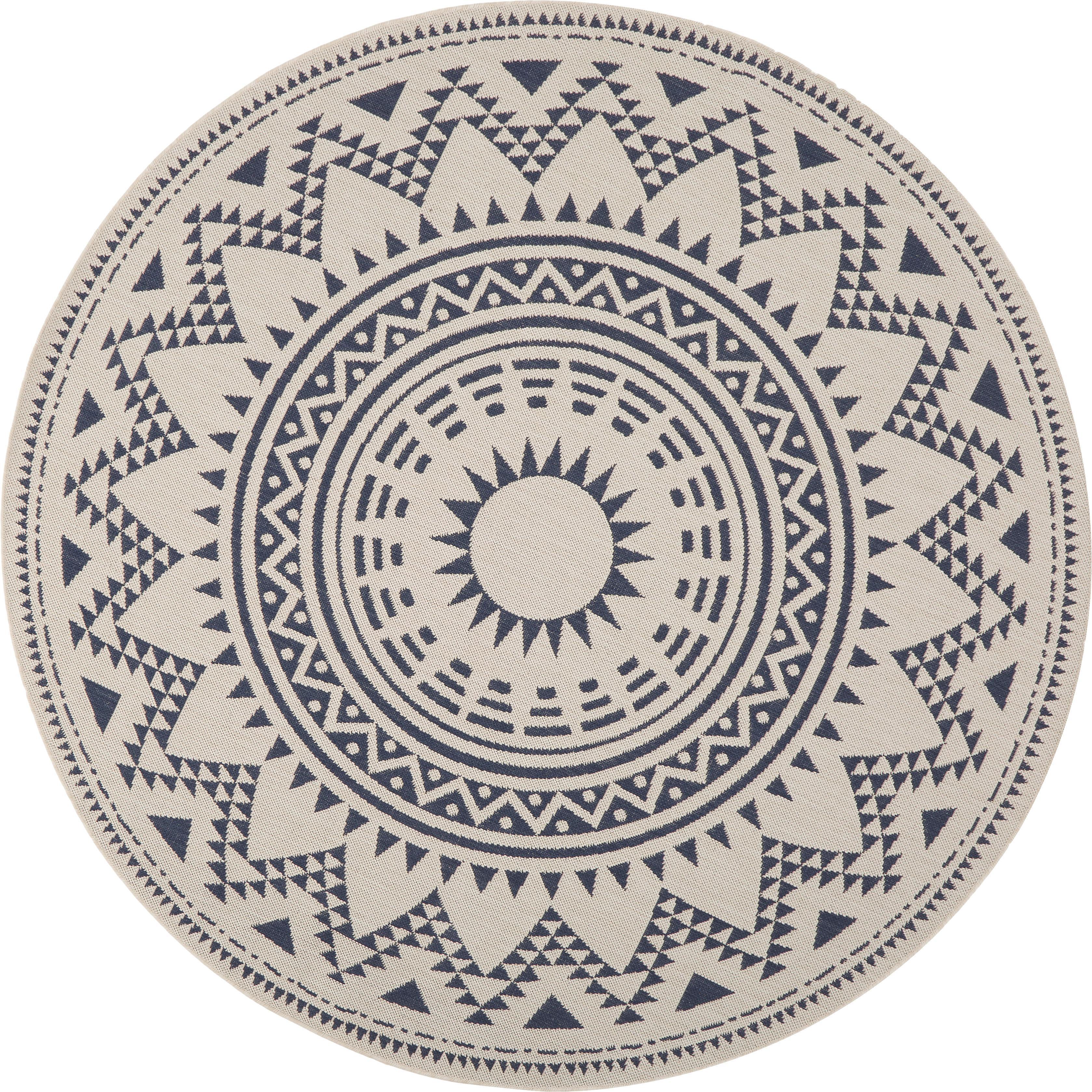 Runder In- & Outdoor-Teppich Arre im Ethno Style, 100% Polypropylen, Weiß, Blau, Ø 200 cm (Größe L)