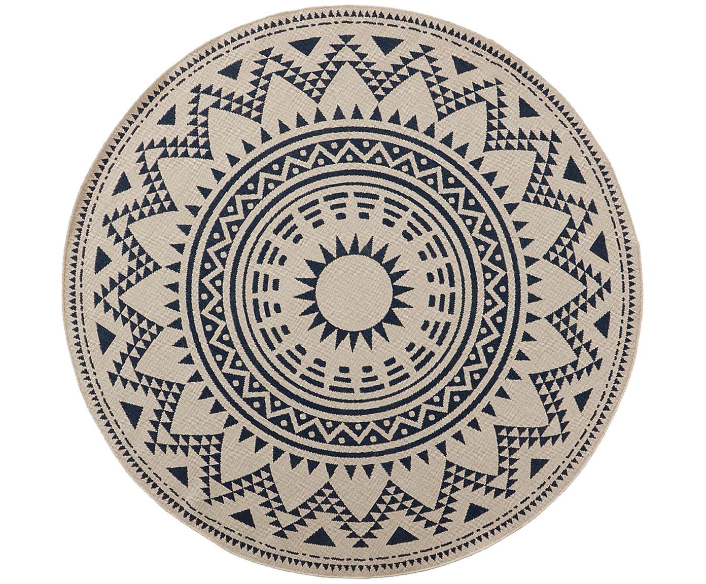 Okrągły dywan wewnętrzny/zewnętrzny Arre, Polipropylen, Biały, niebieski, Ø 200 cm (Rozmiar L)