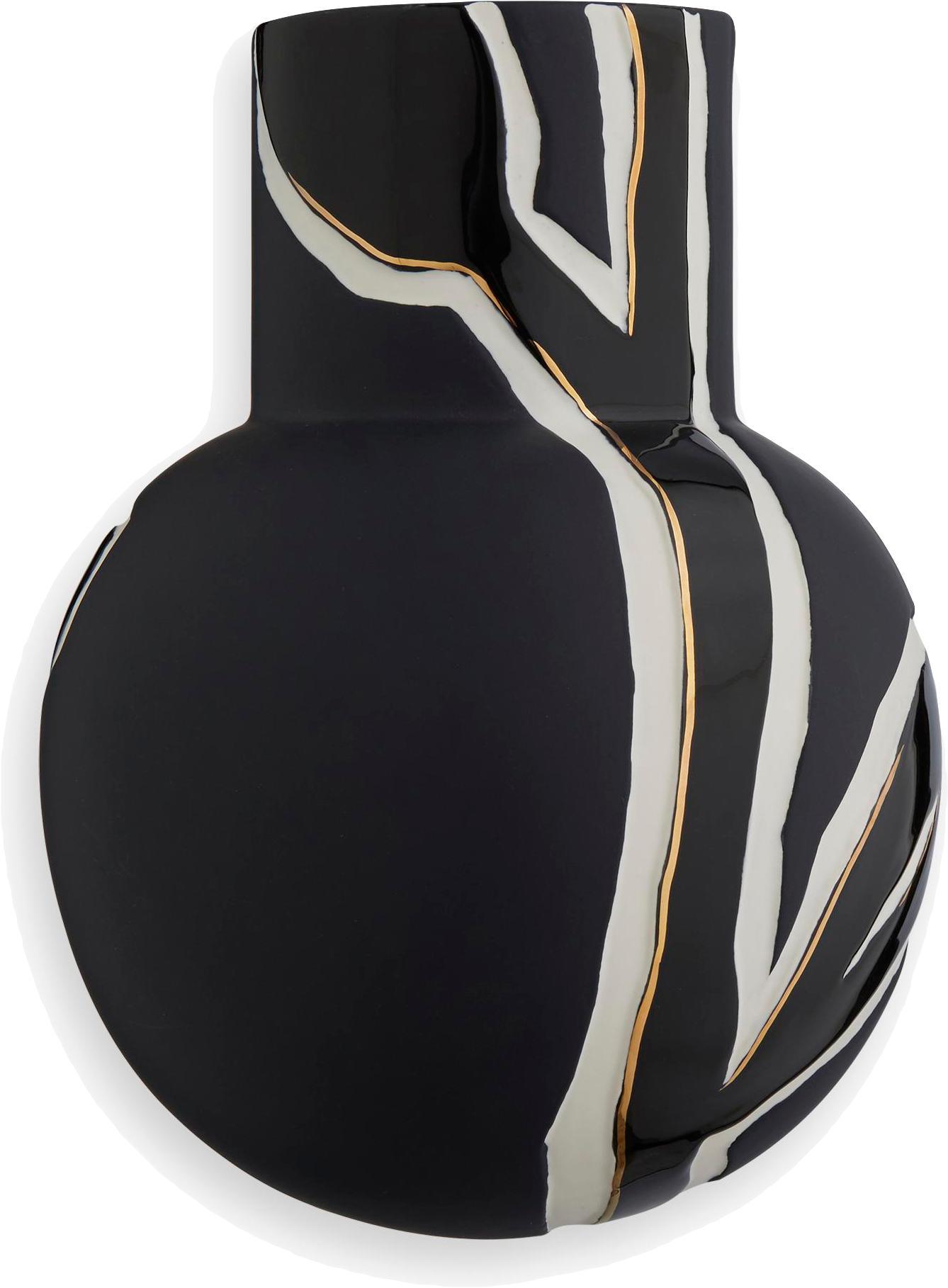 Handgefertigte Design-Vase Fiora, Porzellan, Blau-Schwarz, Creme, Goldfarben, 19 x 25 cm