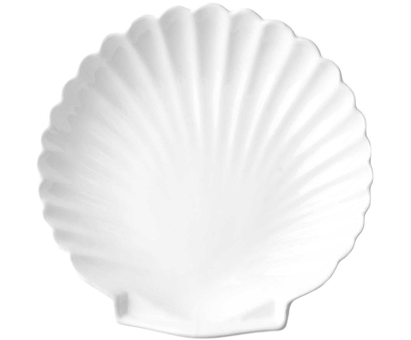 Piatto piano a forma di conchiglia Shell 2 pz, Ceramica, Bianco, Ø 20 cm