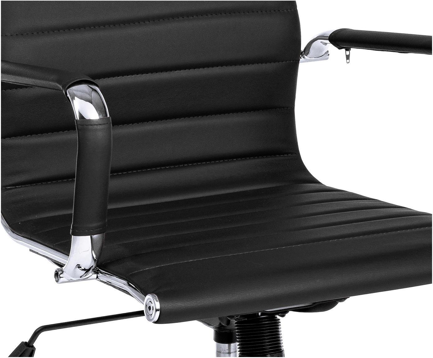 Biurowe krzesło obrotowe ze sztucznej skóry Praga, Stelaż: metal chromowany, Tapicerka: sztuczna skóra (poliureta, Czarny, S 59 x W 89 cm