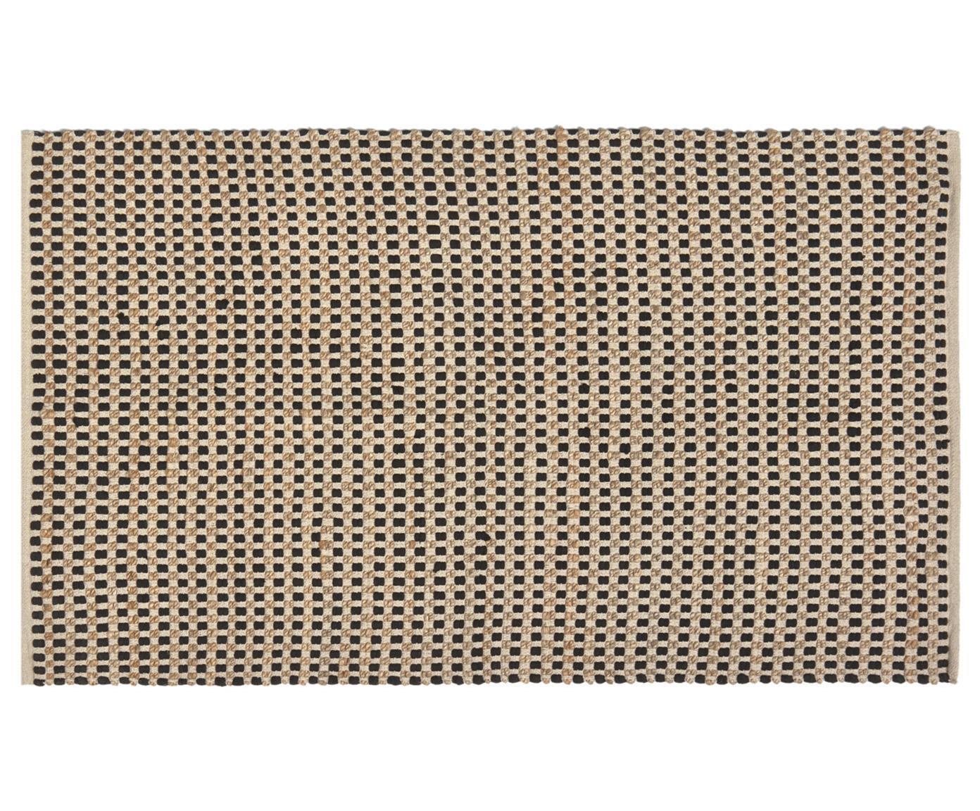 Felpudo de yute y algodón Fiesta, 55%algodón Chindi , 45%yute, Negro, beige, An 45 x L 75 cm