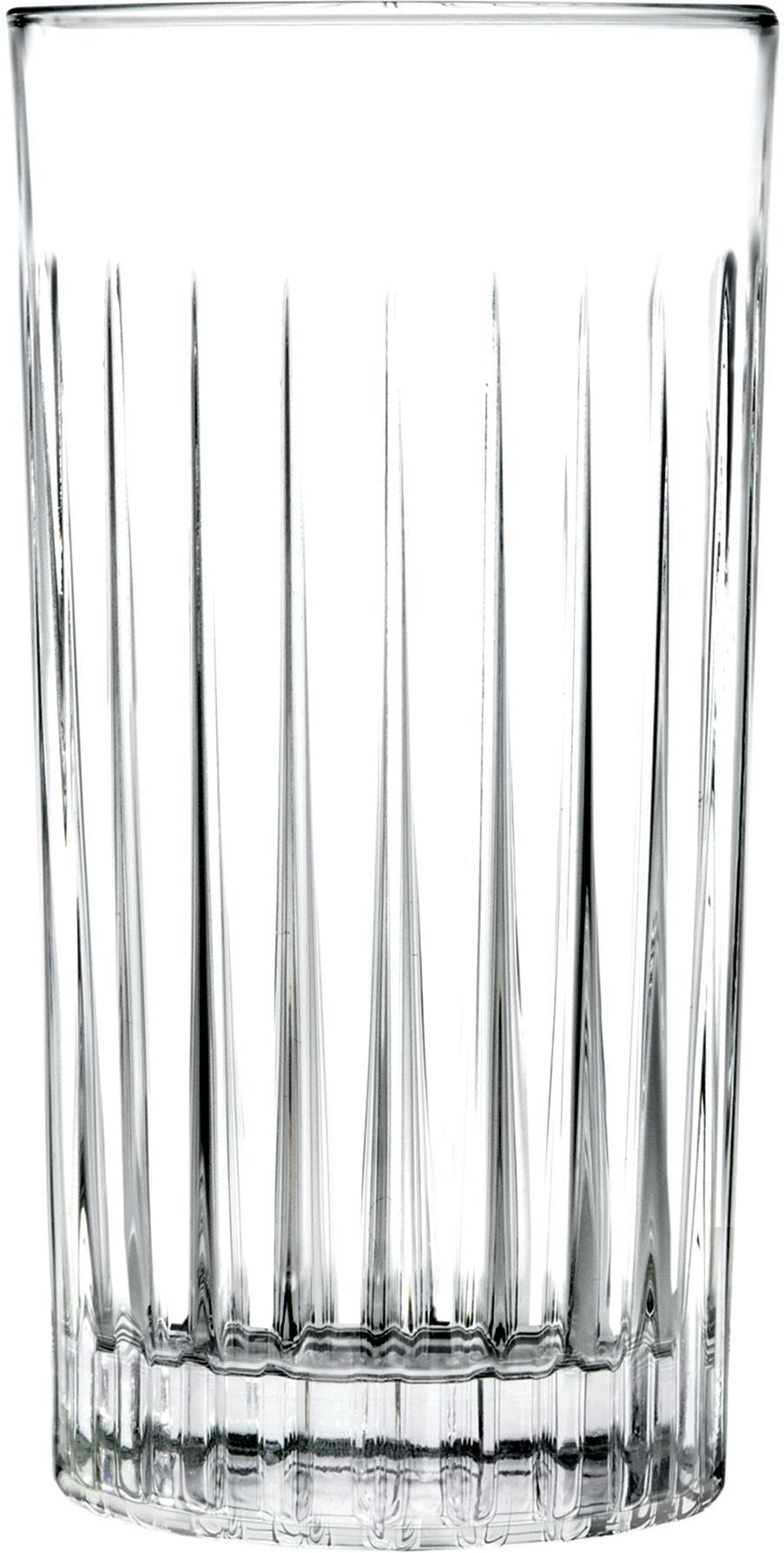 Kristall-Longdrinkgläser Timeless mit Rillenstruktur, 6er-Set, Kristallglas, Transparent, Ø 8 x H 15 cm