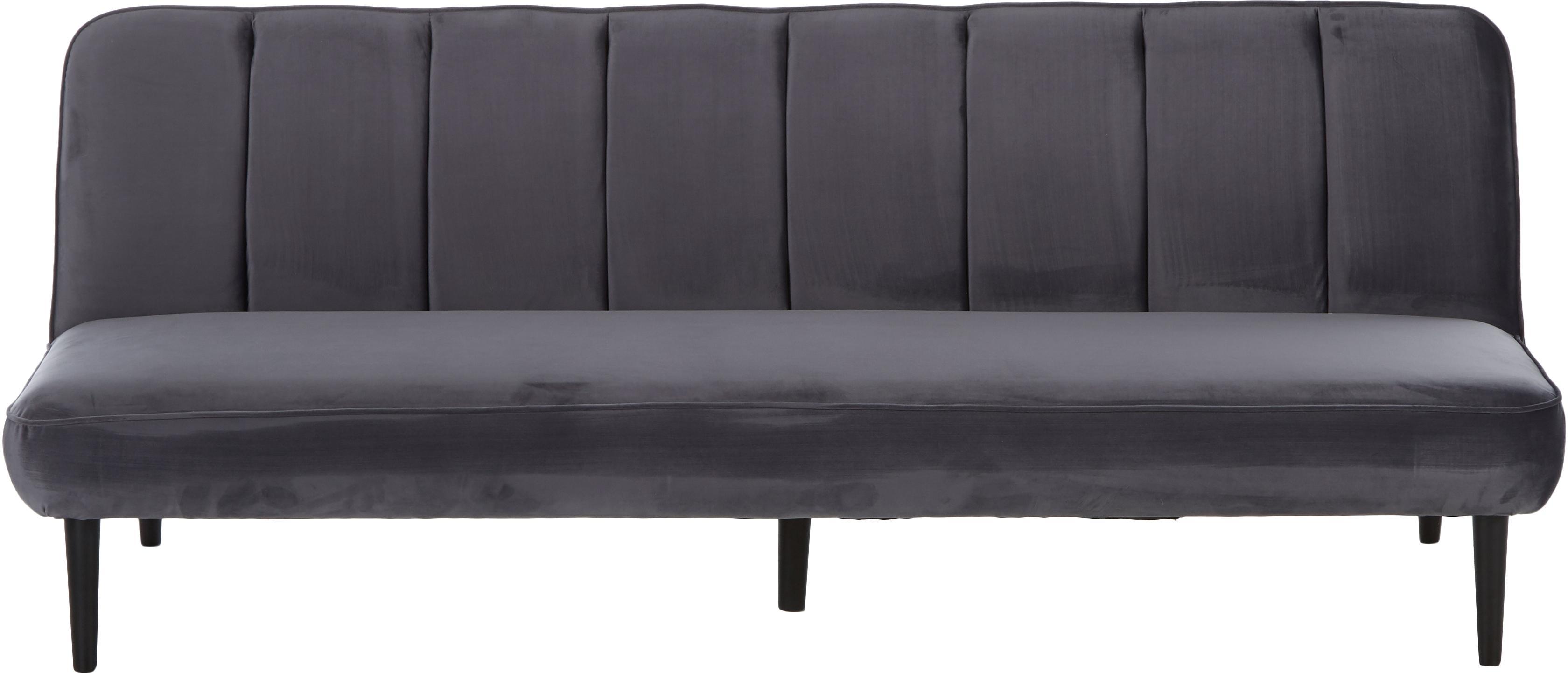 Sofá cama de terciopelo Hayley, Tapizado: terciopelo (poliéster) 28, Estructura: madera de pino, Patas: madera de caucho, pintado, Gris, An 200 x F 89 cm