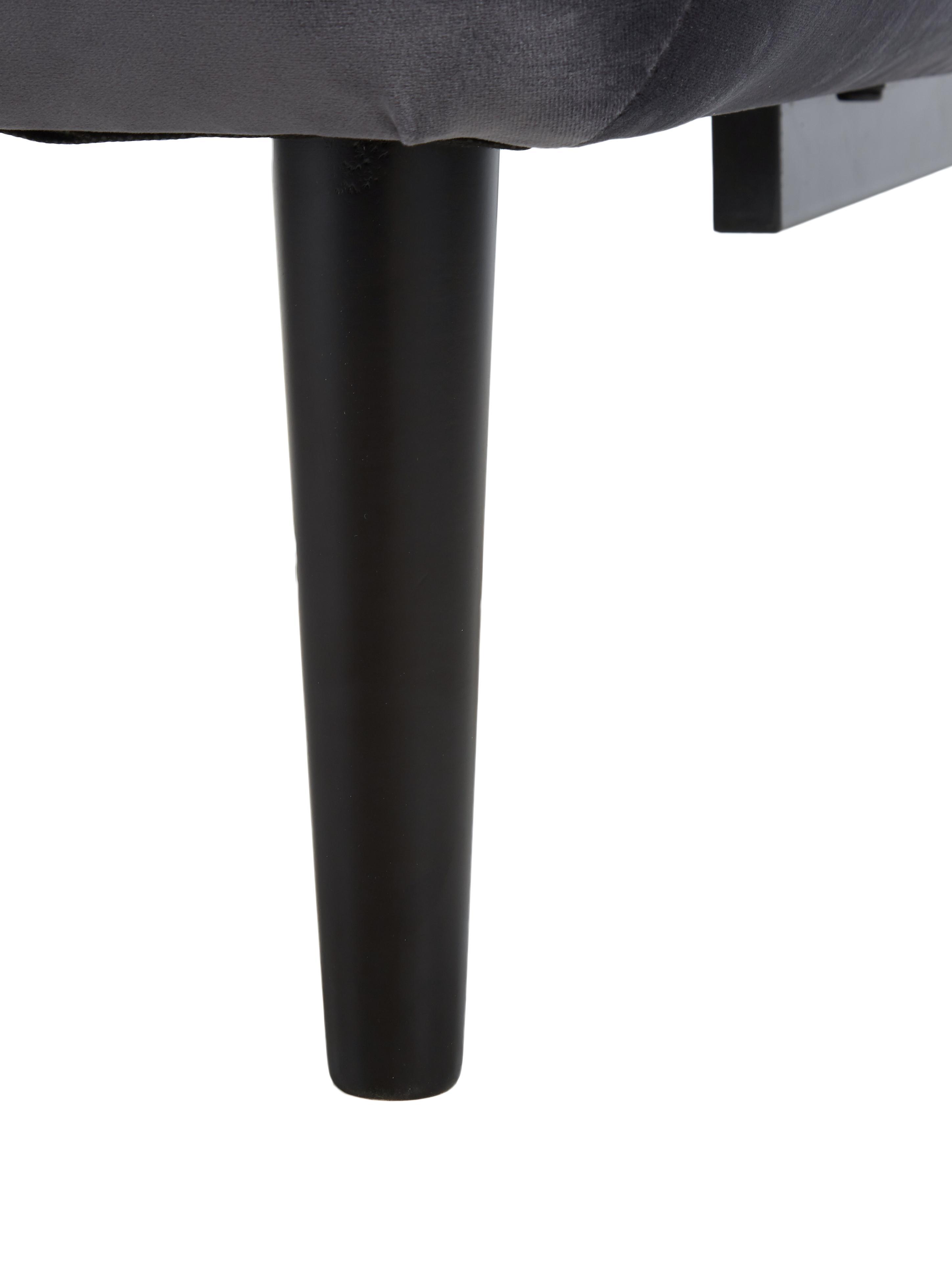Samt-Schlafsofa Hayley, Bezug: Samt (Polyester) Der hoch, Gestell: Kiefernholz, Samt Grau, B 200 x T 89 cm