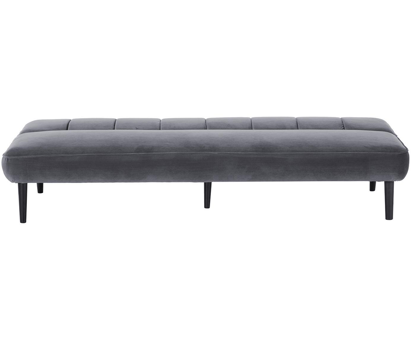 Sofa rozkładana z aksamitu Hayley (3-osobowa), Tapicerka: aksamit (poliester) 2800, Stelaż: drewno sosnowe, Nogi: drewno kauczukowe, lakier, Szary, S 200 x G 89 cm
