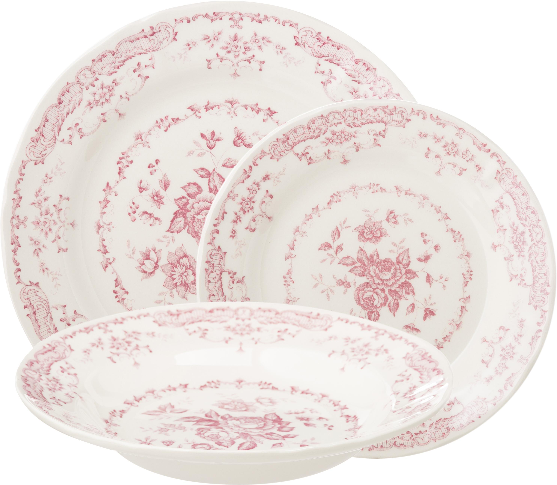 Serviesset Rose met bloemmotief n in roze, 6 personen (18-delig), Keramiek, Wit, roze, Set met verschillende formaten