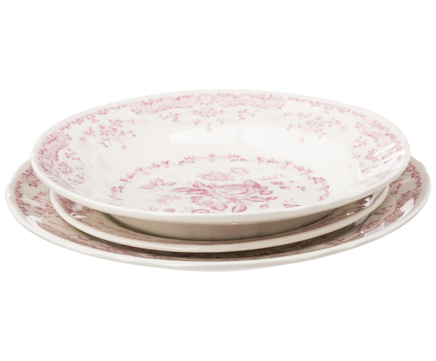 Vajilla Rose, 6comensales (18pzas.), Cerámica, Blanco, rosa, Tamaños diferentes