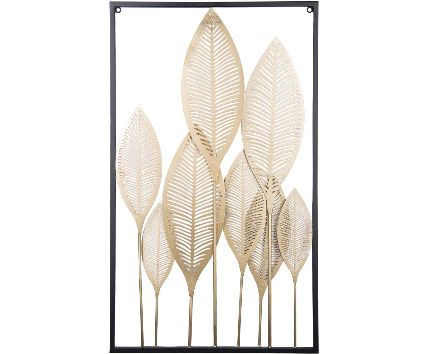 Wandobjekt Art Leaves, Metall, beschichtet, Goldfarben, Schwarz, 44 x 80 cm