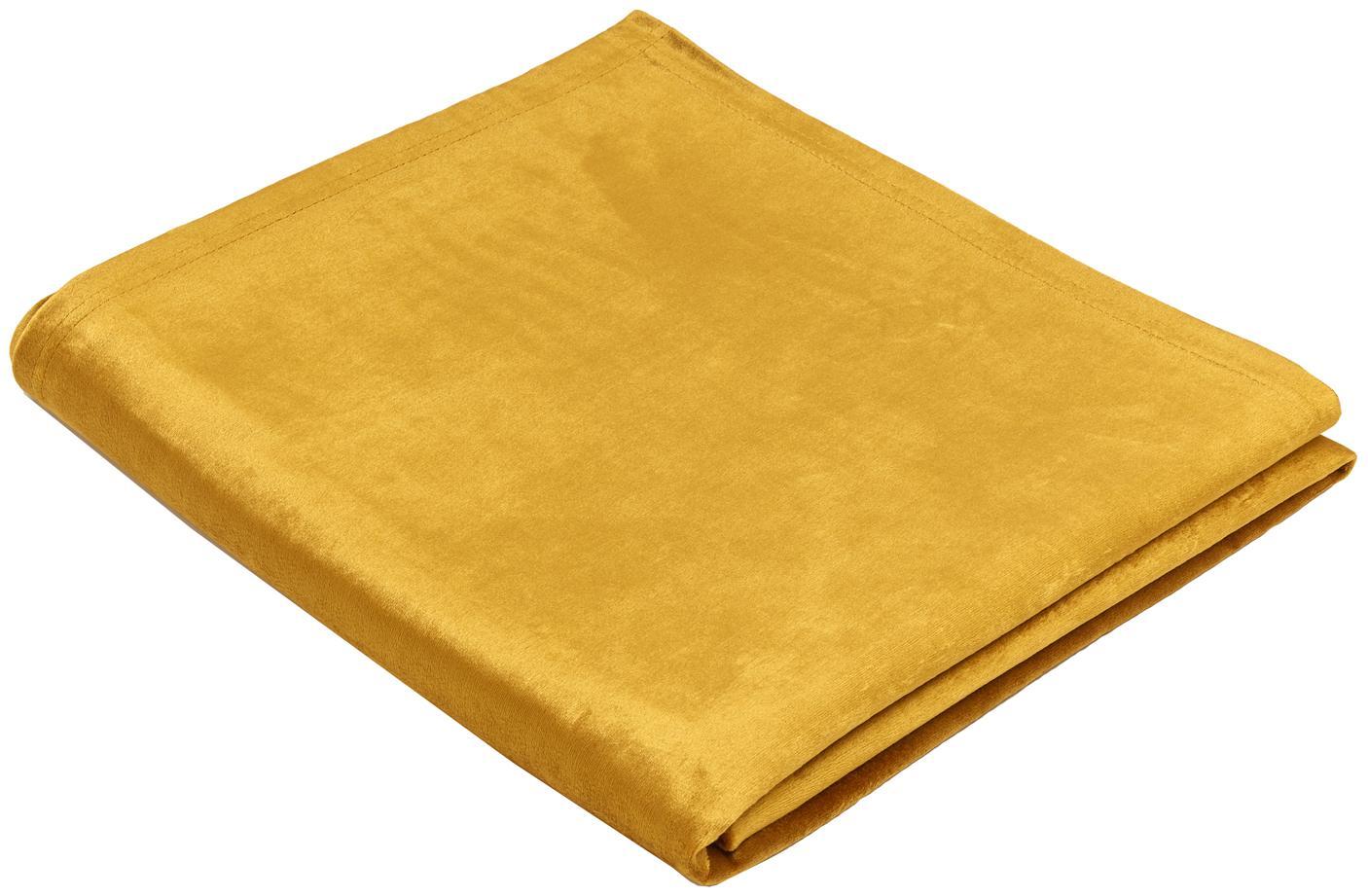 Tovaglia in velluto Simone, Velluto di poliestere, Giallo senape, Per 4-6 persone  (Larg. 140 x Lung. 200 cm)