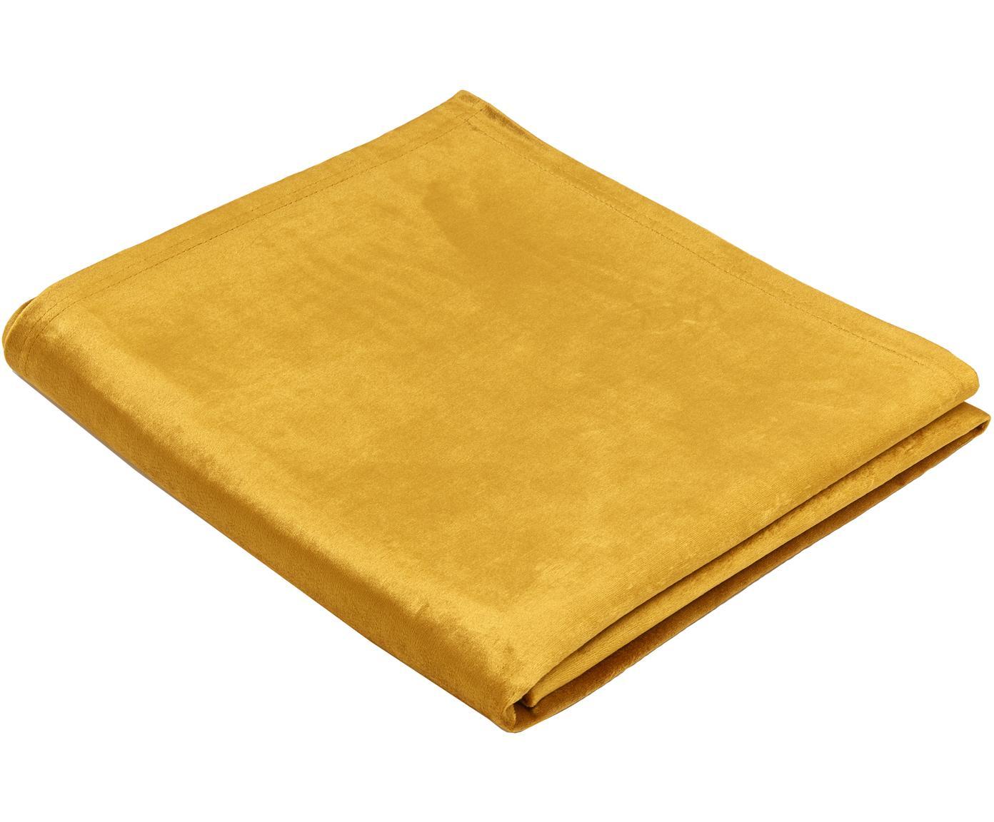 Mantel de terciopelo Simone, Terciopelo (100% poliéster), Mostaza, De 4 a 6 comensales (An 140 x L 200 cm)