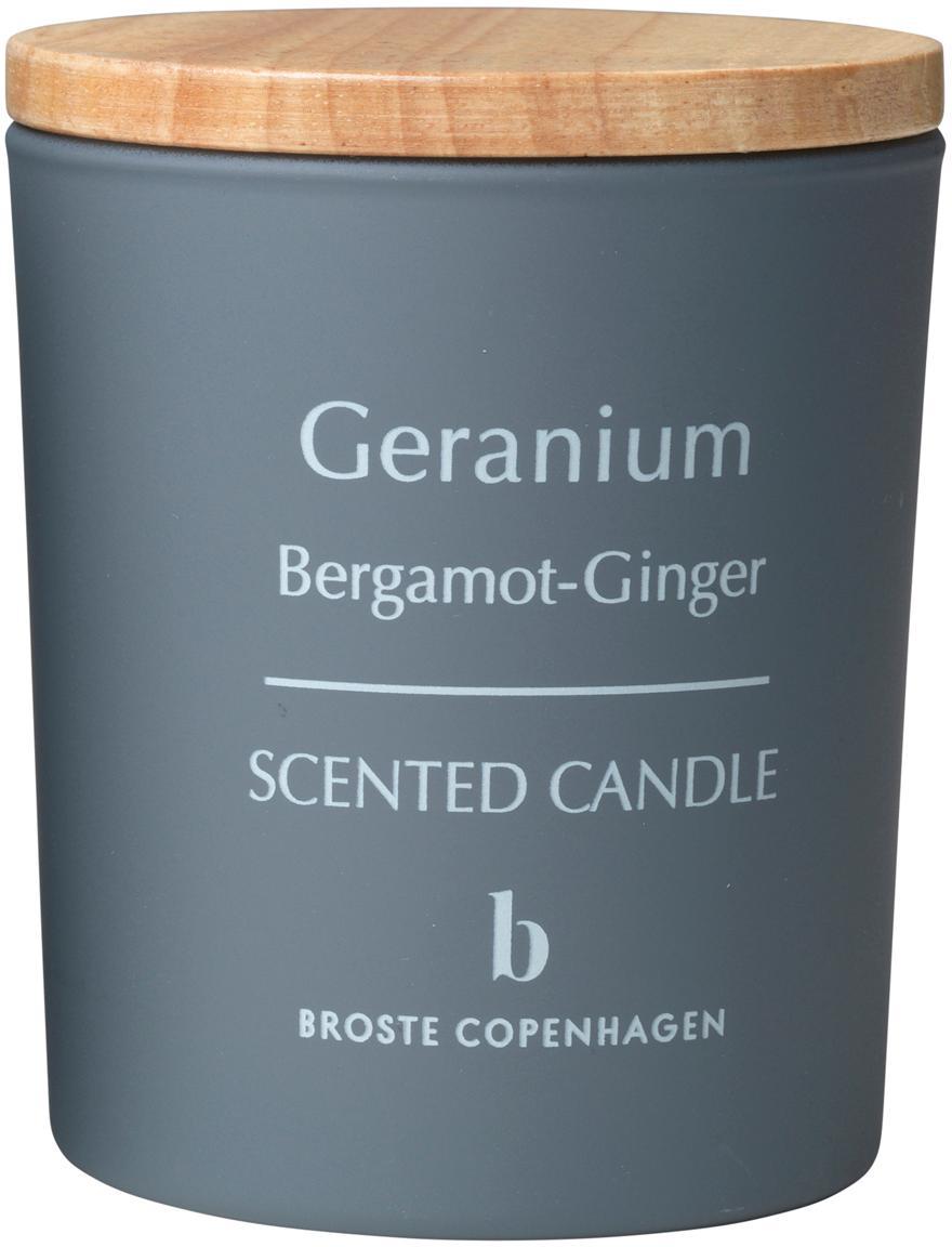 Duftkerze Geranium (Bergamotte, Ingwer), Behälter: Glas, Deckel: Holz, Grau, Hellbraun, Ø 7 x H 8 cm