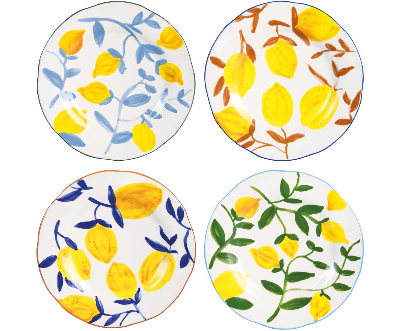 Bunt bemalte Frühstücksteller Twig mit Zitronen-Motiv, 4er-Set, Steingut, Mehrfarbig, Ø 22 cm