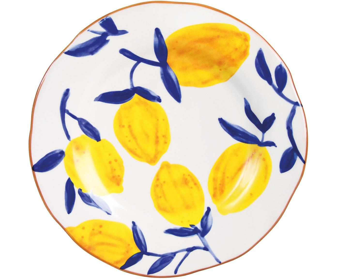 Ontbijtbordenset Lemon Twig, 4-delig, Keramiek, Multicolour, Ø 22 cm