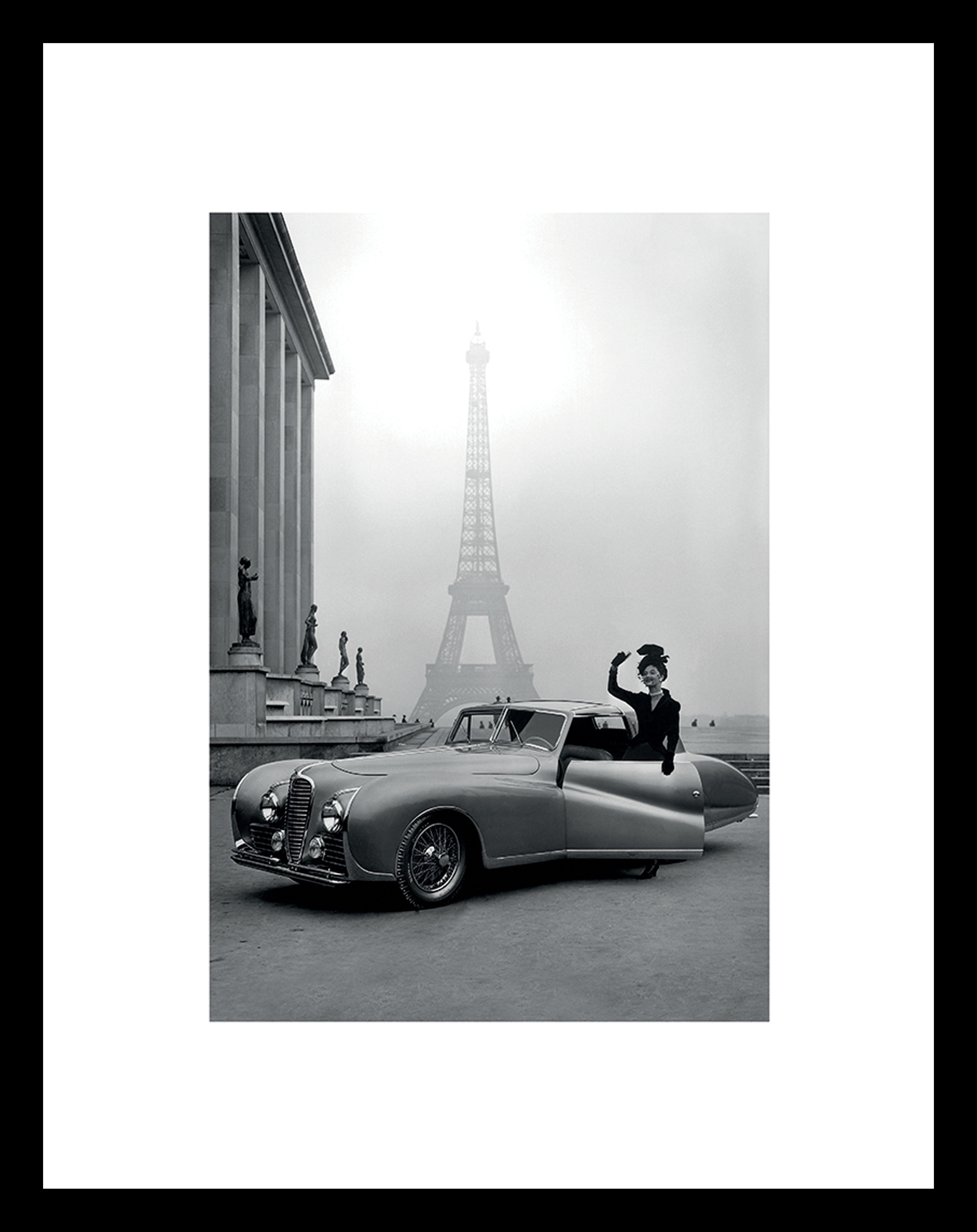 Oprawiony druk cyfrowy France 1947, Stelaż: tworzywo sztuczne (PU), Ilustracja: czarny, biały Stelaż: czarny, S 35 x W 45 cm