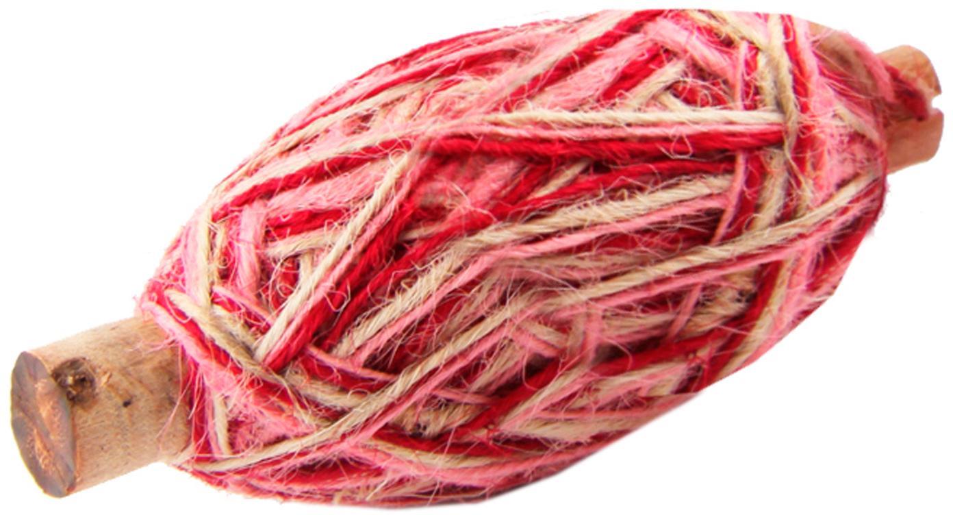 Geschenkschnur Flaxcord, Jute, Hellbraun, Rosa, Pink, L 50 m