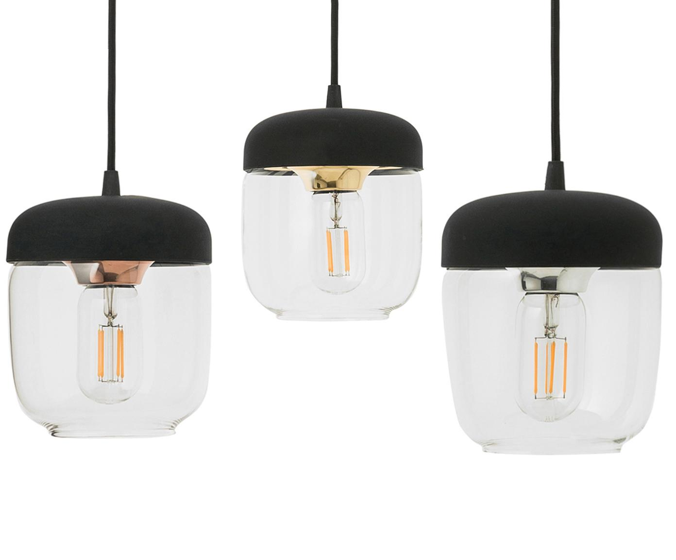 Lámpara de techo Cannonball Acorn, Anclaje: silicona, Cable: cubierto en tela, Negro, dorado, Ajustable individualmente hasta 2,5 m de altura de suspensión