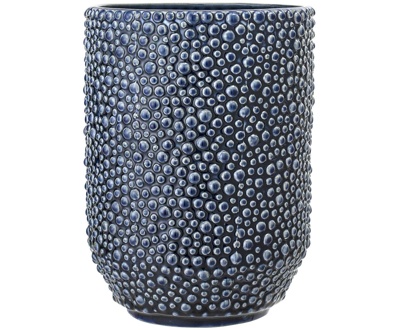 Jarrón de cerámica Ozean, Cerámica, Azul, Ø 15 x Al 21 cm