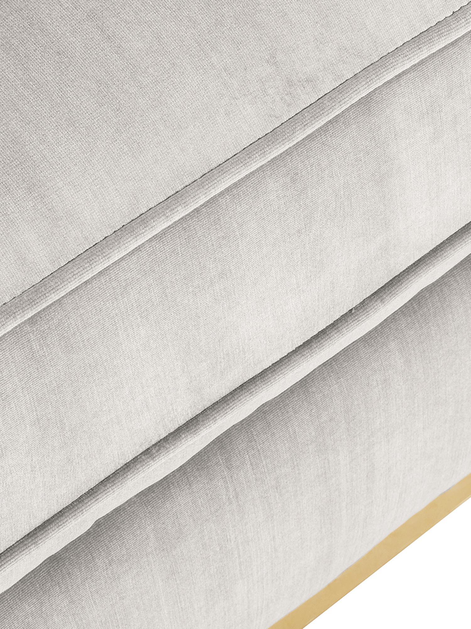 Fluwelen voetenbank Chelsea, Bekleding: fluweel (hoogwaardig poly, Frame: massief vurenhout, Frame: gecoat metaal, Fluweel lichtgrijs-beige, 80 x 44 cm