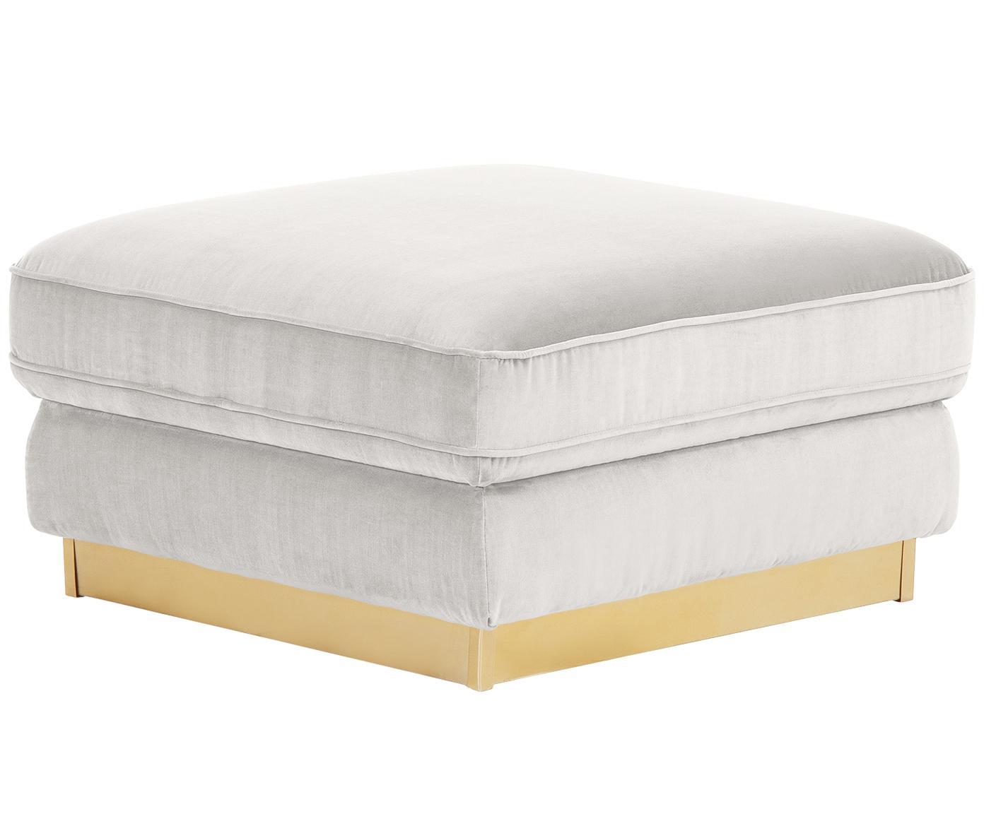 Poggiapiedi da divano in velluto Chelsea, Rivestimento: velluto (rivestimento in , Struttura: legno di abete rosso mass, Struttura: metallo, rivestito, Velluto grigio chiaro-beige, Larg. 80 x Alt. 44 cm