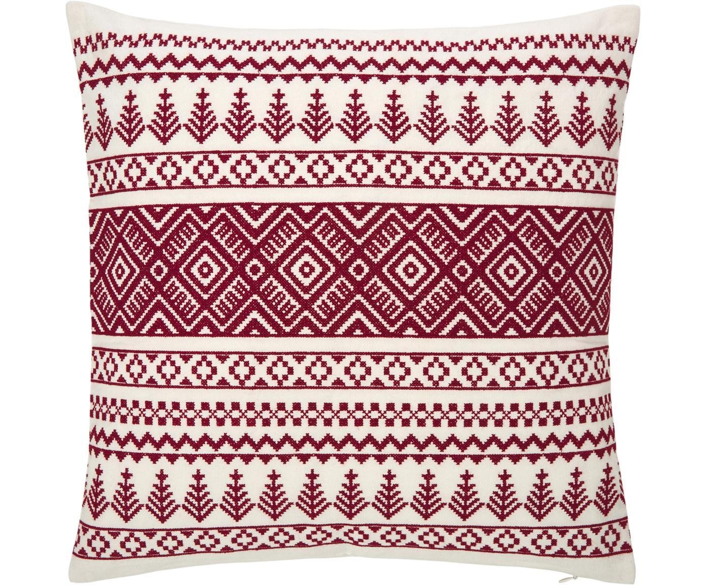 Bestickte Kissenhülle Islay mit winterlichen Motiven, 100% Baumwolle, Rot, Cremeweiss, 45 x 45 cm