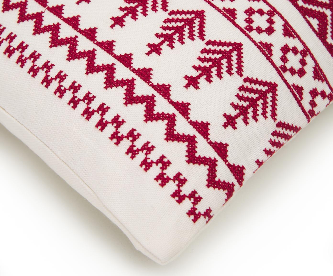Funda de cojín bordada Islay, 100%algodón, Rojo, blanco crema, An 45 x L 45 cm