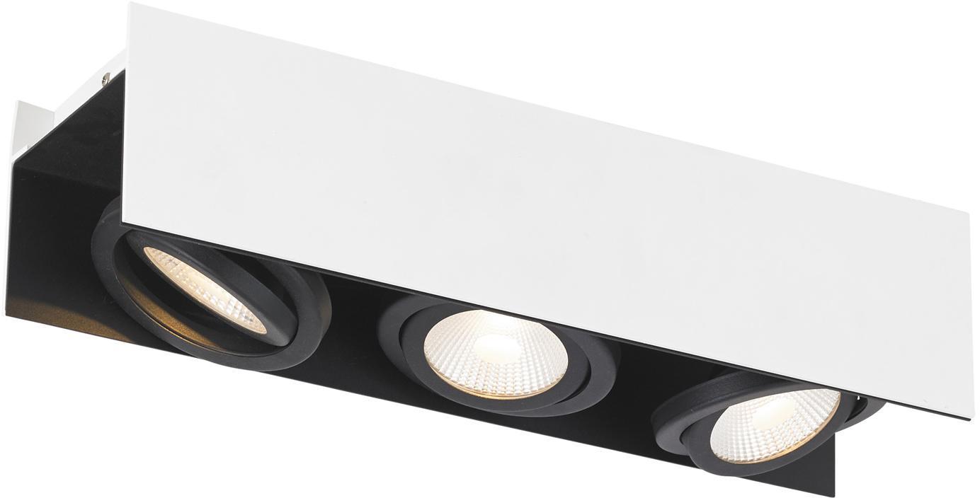 Faretti da soffitto a LED Vidago, Struttura: acciaio verniciato, Paralume: alluminio rivestito, Bianco, nero, Larg. 47 x Alt. 11 cm