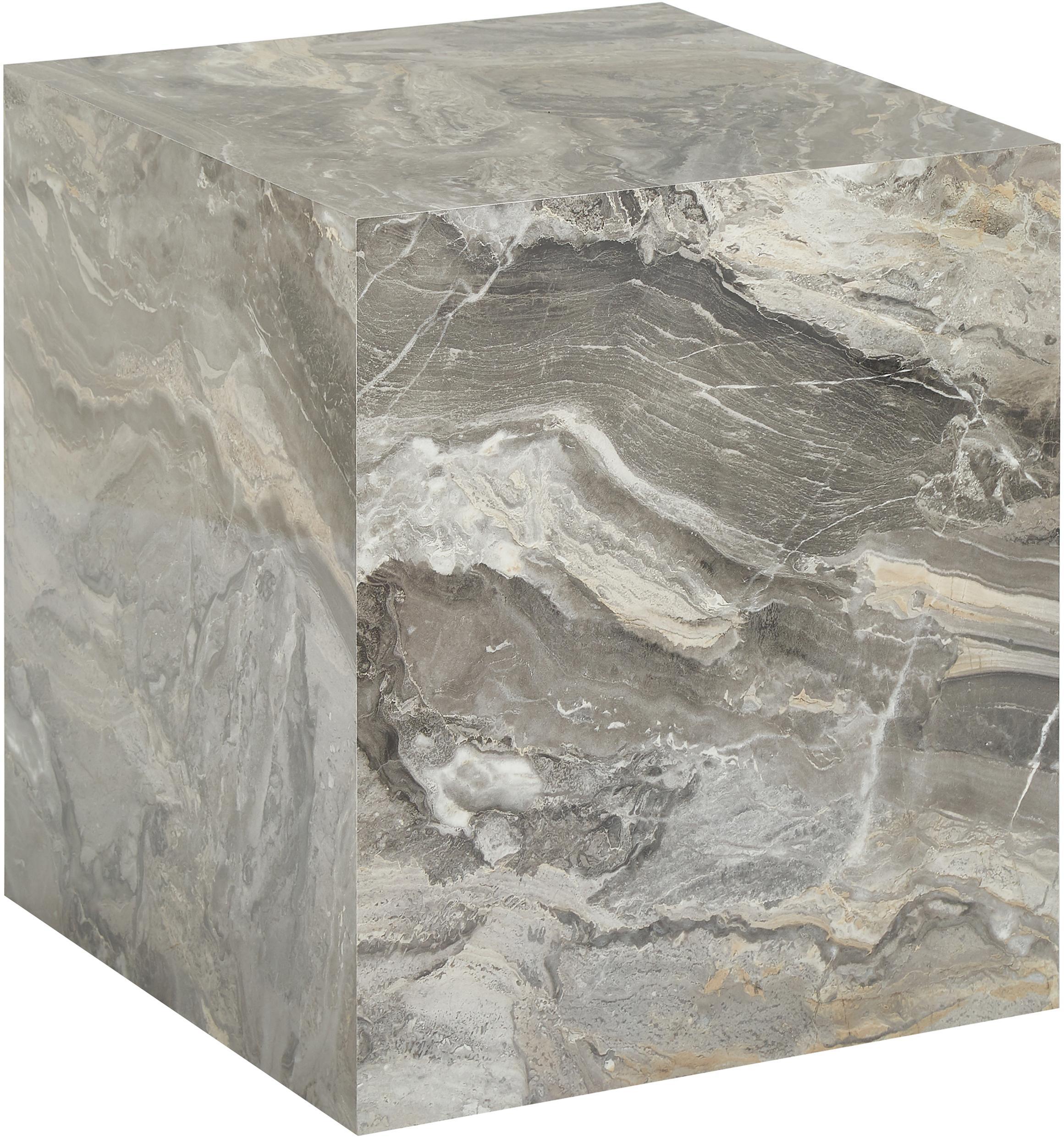Stolik pomocniczy z imitacji marmuru Lesley, Płyta pilśniowa średniej gęstości (MDF) pokryta folią melaminową, Szary, marmurowy, S 45 x W 50 cm