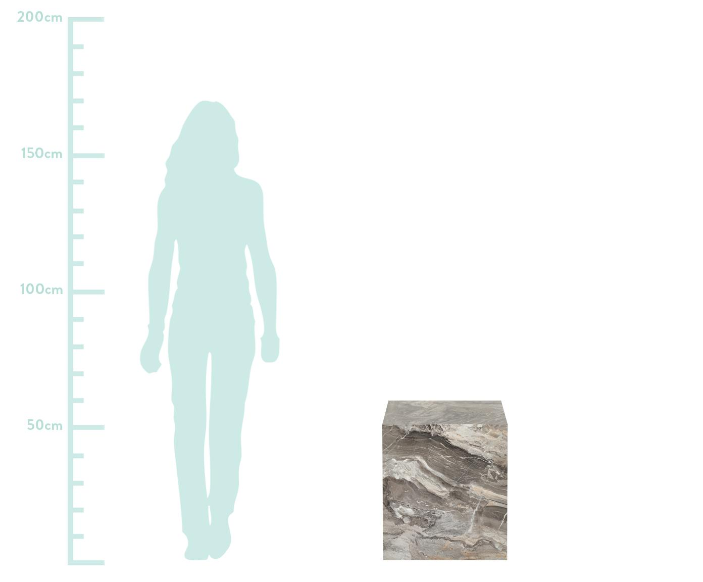 Beistelltisch Lesley in Marmoroptik, Mitteldichte Holzfaserplatte (MDF), mit Melaminfolie überzogen, Grau, marmoriert, 45 x 50 cm