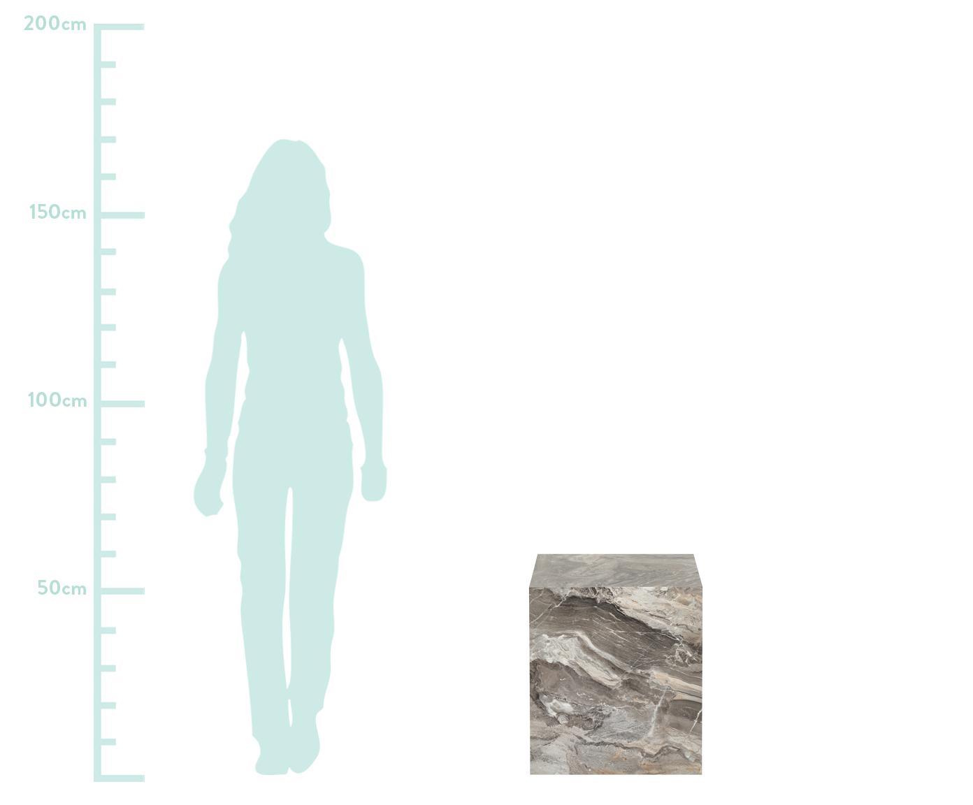 Tavolino Lesley, Pannello di fibra a media densità (MDF) rivestito con foglio di melamina, Grigio marmorizzato, Larg. 45 x Alt. 50 cm
