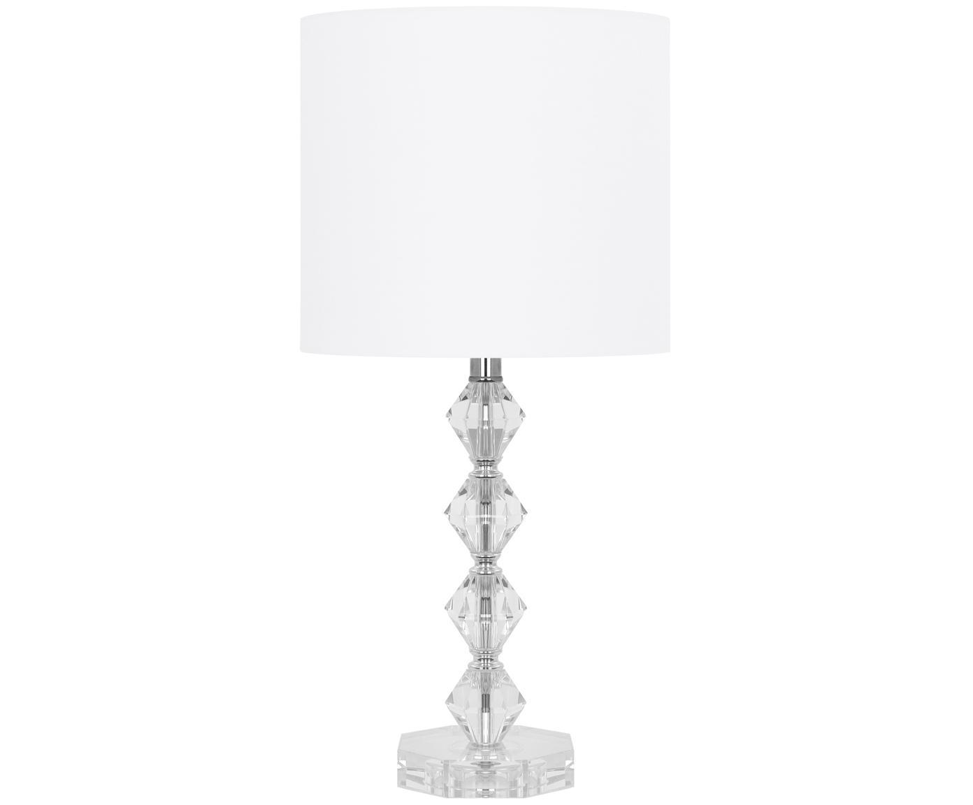 Tafellamp Diamond van kristalglas, Lampenkap: textiel, Lampvoet: kristalglas, Lampenkap: wit. Lampvoet: transparant. Snoer: wit, Ø 25 x H 53 cm