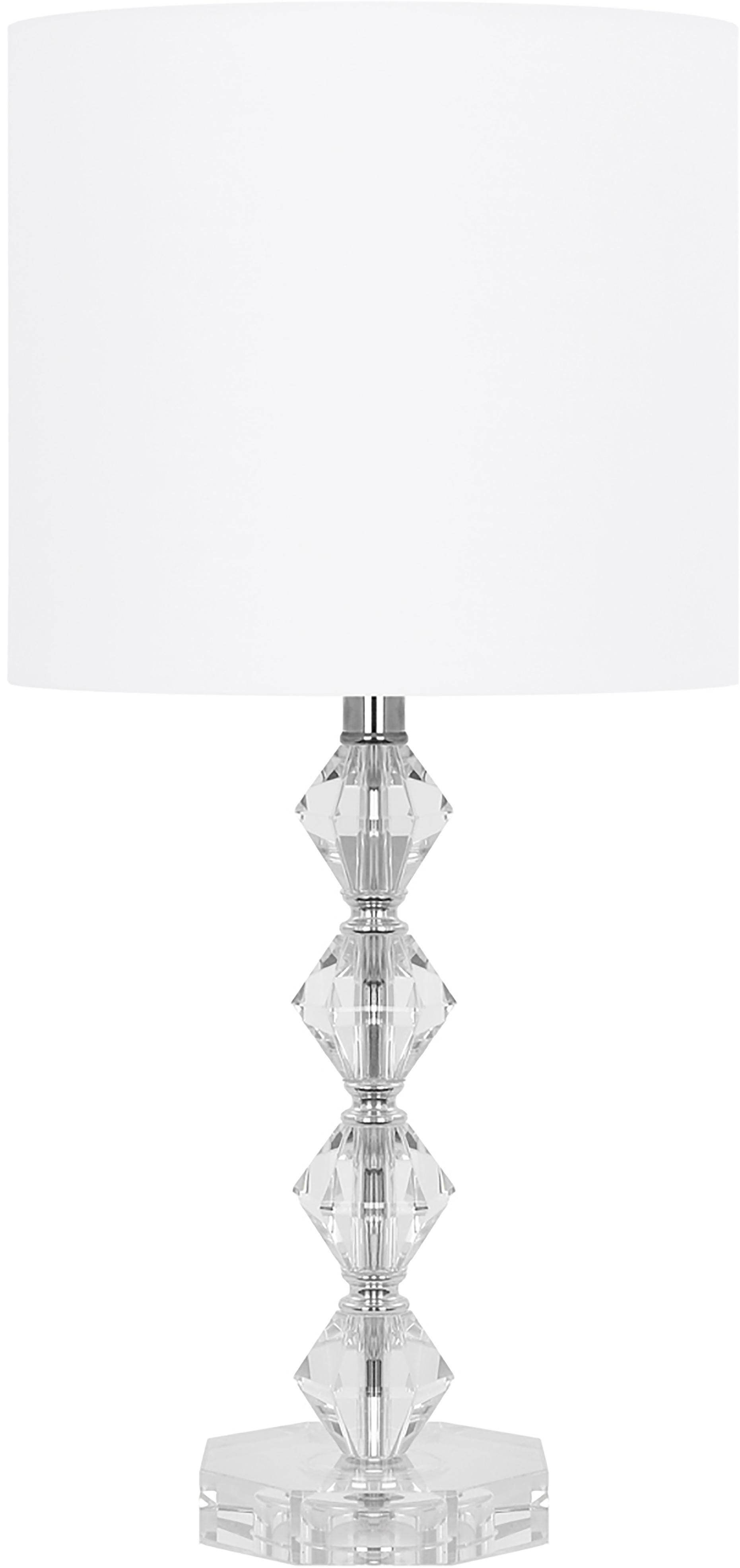 Tischlampe Diamond aus Kristallglas, Lampenschirm: Textil, Lampenschirm: Weiss, Lampenfuss: Transparent, Kabel: Weiss, Ø 25 x H 53 cm