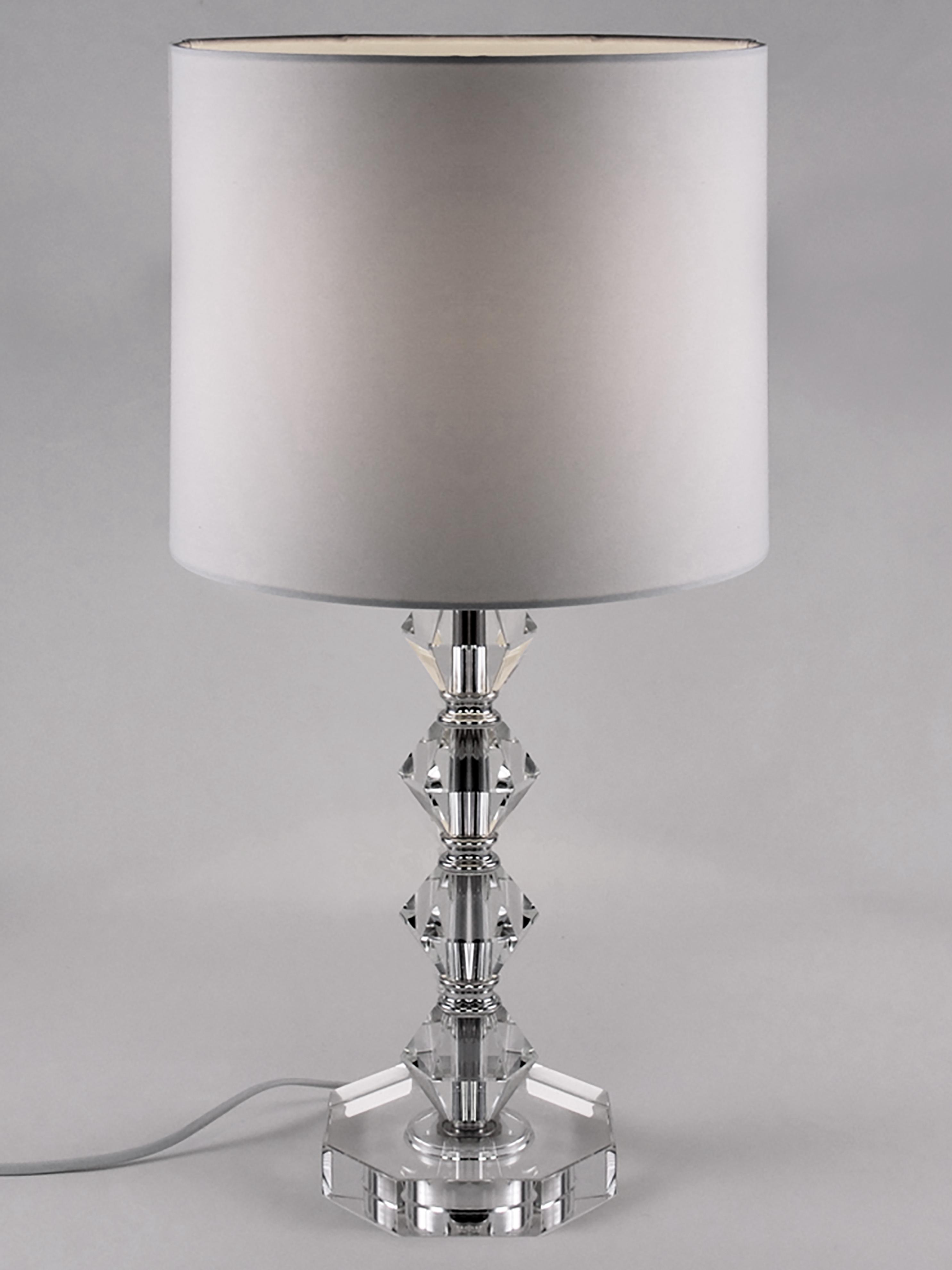 Tischlampe Diamond aus Kristallglas, Lampenschirm: Textil, Lampenfuß: Kristallglas, Lampenschirm: Weiß, Lampenfuß: Transparent, Kabel: Weiß, Ø 25 x H 53 cm