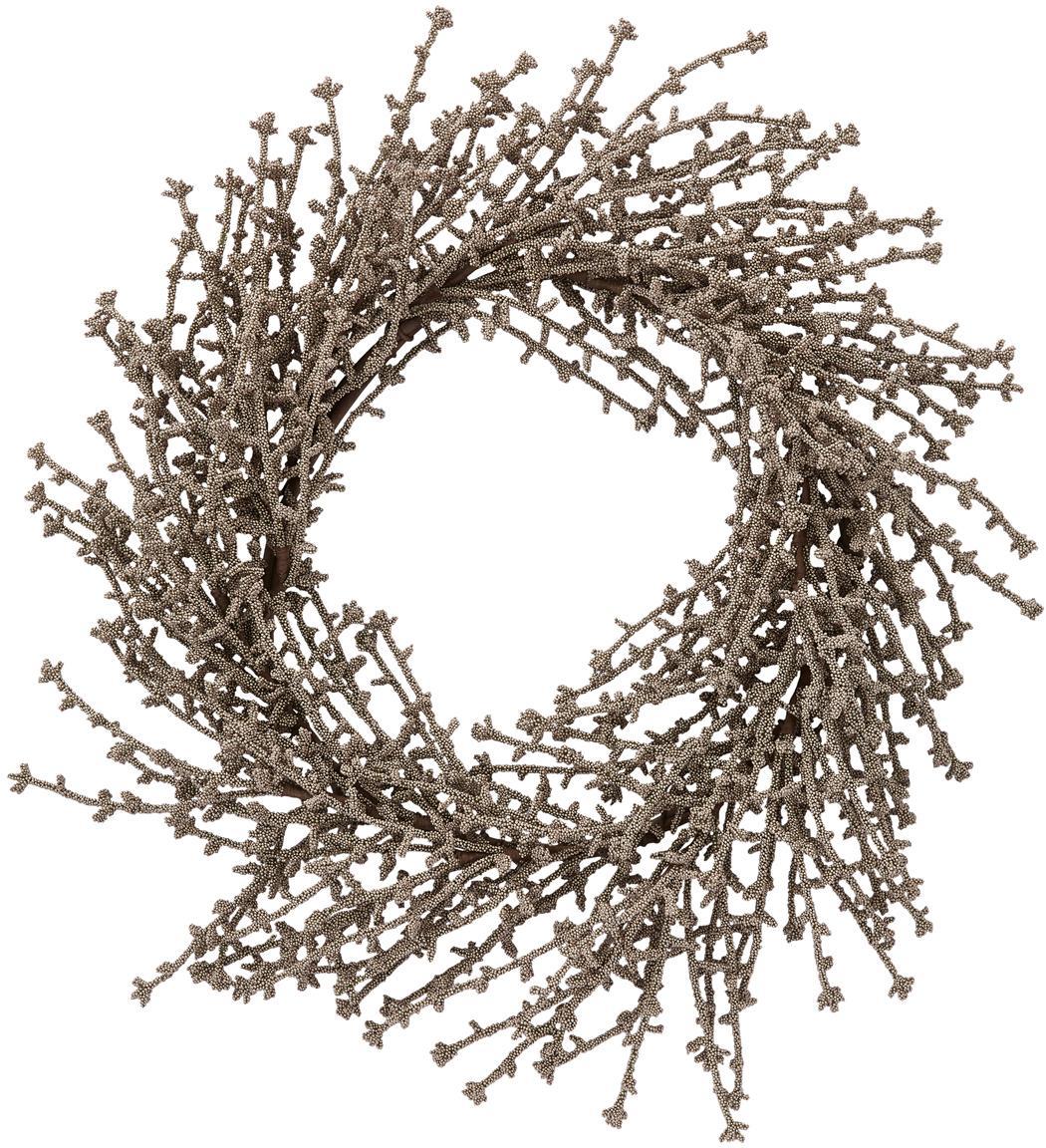 Corona navideña Florisa, Plástico, Champán, Ø 40 x Al 6 cm