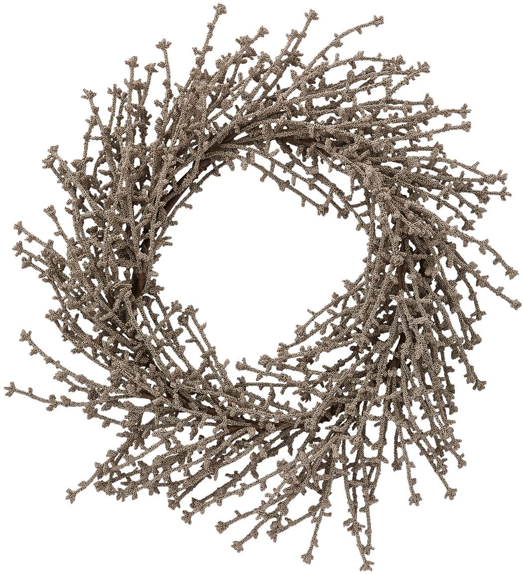 Decoratieve krans Florisa, Kunststof, Champagnekleurig, Ø 40 x H 6 cm