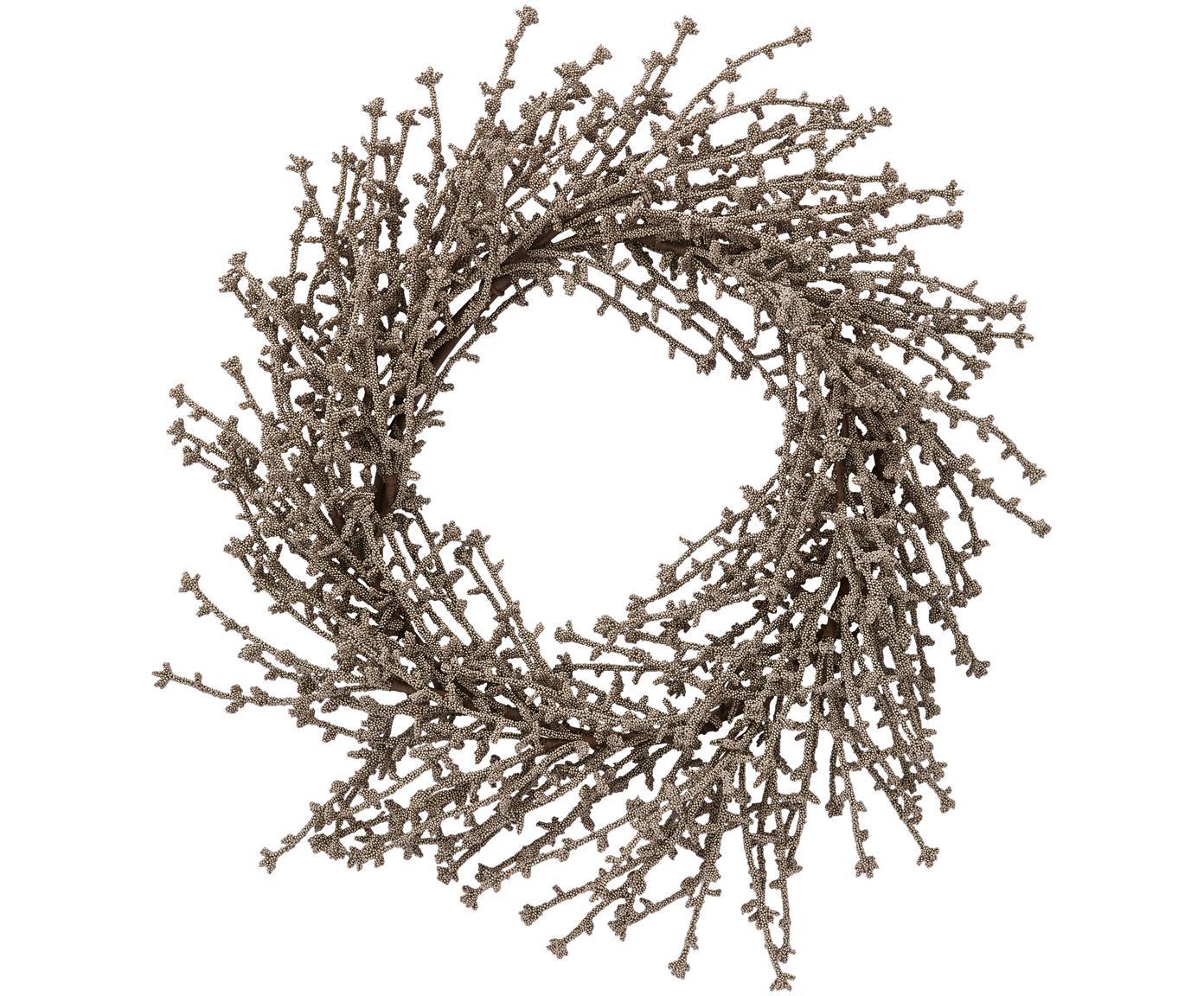 Kranz Florisa, Kunststoff, Champagnerfarben, Ø 40 x H 6 cm