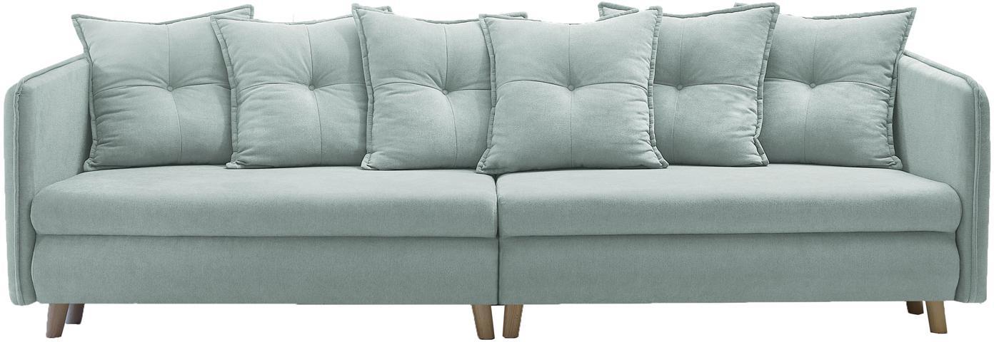 Sofa rozkładana z aksamitu Opti (4-osobowa), Tapicerka: 100% aksamit poliestrowy, Nogi: metal lakierowany, Jasny niebieski, S 264 x G 103 cm