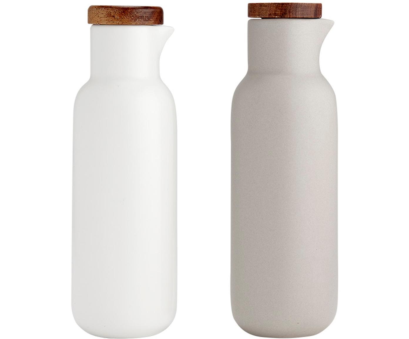 Essig- und Öl-Spender Essentials aus Porzellan und Akazienholz, 2er-Set, Porzellan, Akazienholz, Sandfarben, Weiß, Akazienholz, Ø 6 x H 18 cm