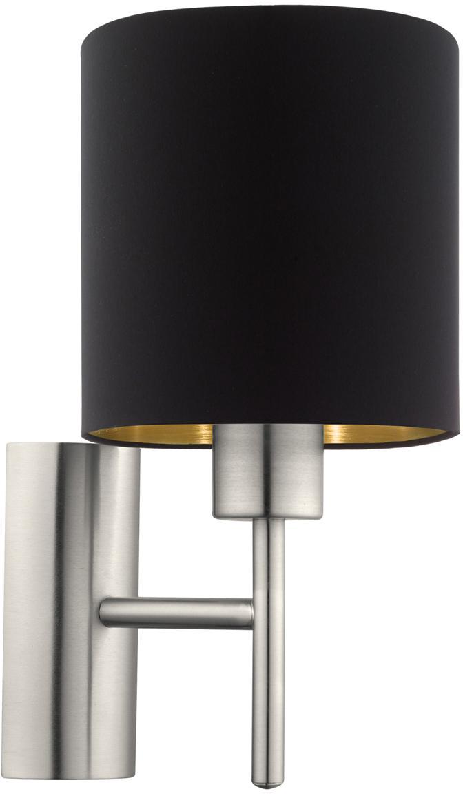 Applique Jamie, Baldacchino: metallo, nichelato, Argentato, nero, Ø 15 x Alt. 31 cm